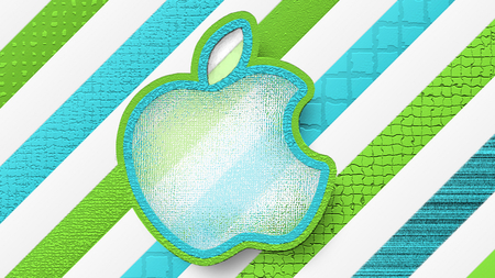 Apple'Patterns'2 - apple, mac logo, mosaic, green, light blue, pattersn, glass like, white, glass like apple, blue