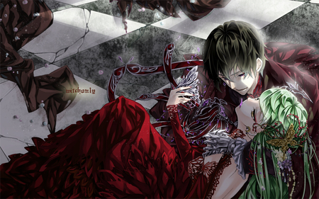 Lelouch X CC - dress, code geass, red dress, cc, c2, love, green hair, lelouch, black hair