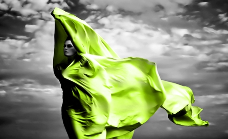 Green Veil - photography, white, abstract, silhouette, woman, color splash, silk, veil, nice, black and white, beautiful, elegant, fantasy, models female, girl, pretty, wind, green, black, grey, people, figure