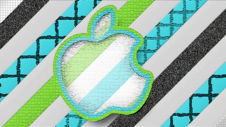 Apple'Patterns'4 - apple, stripes, stripped, black, mac logo, green, light blue, white, patterns