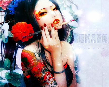 Geisha - original, rose, gesiha, sweet, fantasy, hot, flowers, beauty, anime girl, paint brush, female, tattoo, brave, sexy, cool, girl, hold hand