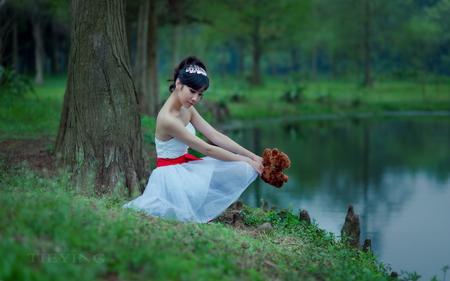 Waiting for you!! - lake, waiting, girl, shore