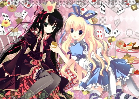 Alice & The Queen of Hearts - bow, girls, blue, black, alice, white, red, cute, socks, ribbon, stripes, queen of hearts, kawaii, hearts, females, frills, anime, dress, alice in woderland, crown