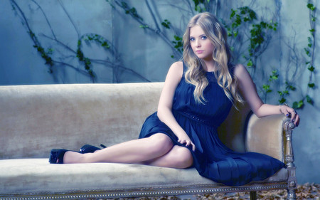 Ashley Benson - dress, celebrity, models, beautiful, ashley benson, entertainment, people, black dress, tv series, pretty little liars, sofa, actresses
