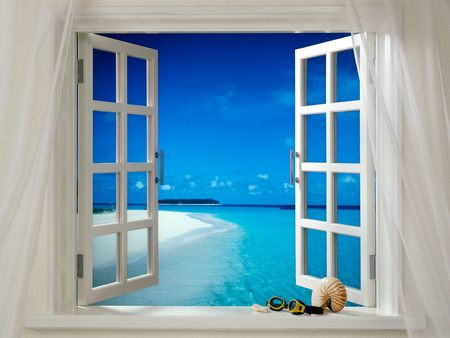Tropical Breeze - island, breeze, curtains, tropical, view, ocean, beach, sky, seashell, window