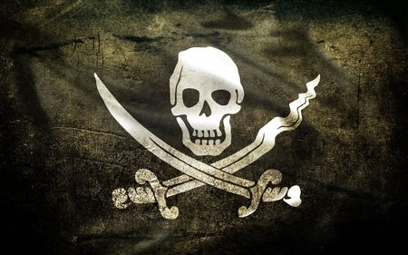 The Jolly Roger - crossbones, skull, pirat, scull and bones, pirate, 3d and cg, pirate flag, abstract, knives, pirat flag, flag, death head, jolly roger