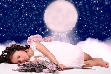 Sleeping angel - lovely baby, shining stars, adorable, clouds, moon, little girl, little princess, flowers, child, stars, sweet girl, wings, angel, good night, baby, cute, beautiful night, sweet dreams