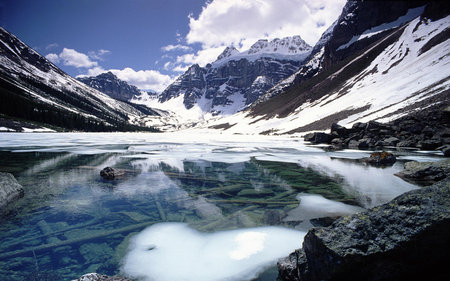 canadian mountain - beauty, reflection, photography, clouds, sky, water, nature, mountain