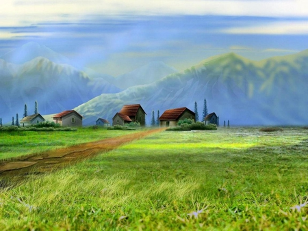 Living in the country - image, grass, houses, country, trees, wall, picture, living, countryside, mountains, wallpaper, nature, field