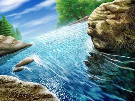 Clean and clear - rocks, image, clear, clean, trees, wall, artwork, water, wallpaper, nature, river