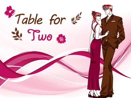 Table for two - romance, anime, couple, love