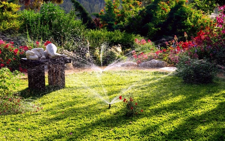 Relaxing Garden - flowers, garden, relaxing, sprinklers