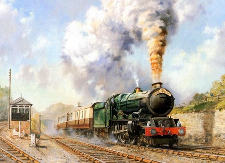 Steaming all the way - rails, train station, retro, station, picture, steam, steaming, rail track, wall, journey, image, old, sky, wallapaper, railcar, smoke, train