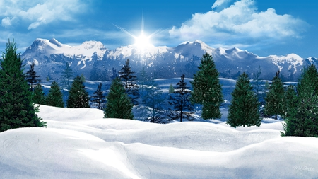 Like a Christmas Card - firefox persona, christmas, sunshine, blue, sky, mountains, trees, sun, forest, snow, winter, clouds, morning, evergreen