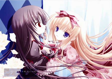 Can't help it - dress, tagme, kawai, tinkle, yuri, cute, cool, shoujo ai, anime, lolita fashion, girls, long hair