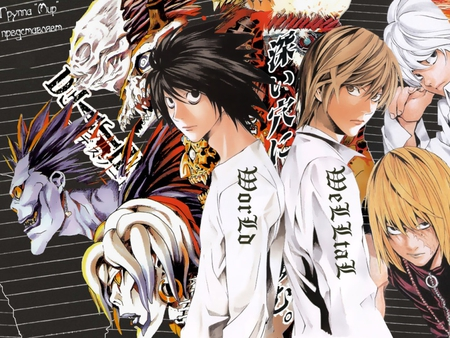 both sides - near, l, ryuk, death note, rin, anime, shimigami, mellow, light