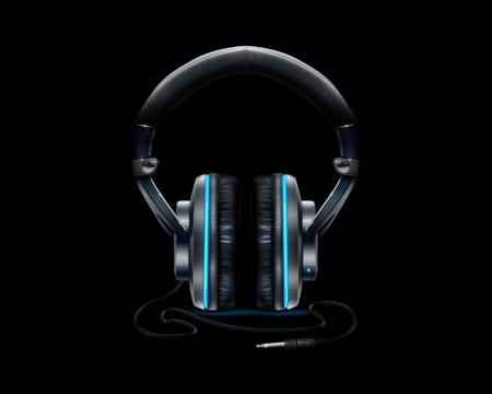 HEADPHONES NEON BLUE HD - Music & Entertainment Background