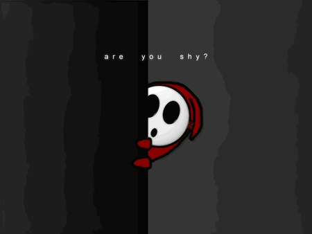 Are You Shy - red, shy guy, white, mask