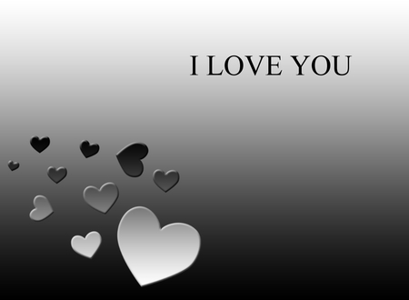 I LOVE YOU - hearts, white, gradients, wallpapers, black