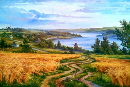Painting - art, path, river, nature, painting