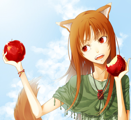 Horo and her Apples - wolfgirl, wolf ears, clouds, fruit, teeth, horo, food, apples, brown hair, tail, sky, wolf girl, fangs, holo, wolf, red eyes, spice and wolf
