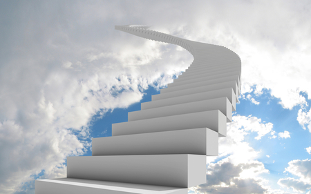 Stair to Heaven - stair, heaven, sky, clouds, white
