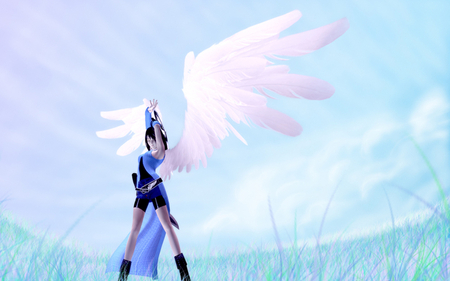Rinoa Heartilly - boots, video game, close eyes, heaven, hot, final fantasy, anime girl, final fantasy viii, sword, female, wings, cloud, angel, rinoa heartilly, spring, sky, sexy, weapons, cool
