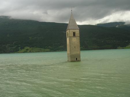 Campanile - lago, campanile, sommerso, torre