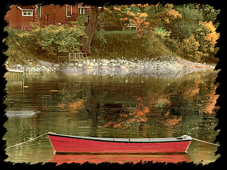 Red Rowboat in Autumn F1 - rowboat, art, autumn, artwork, water, painting, waterscape, river, scenery