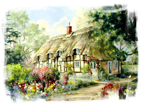 Tulip Time F2 - art, house, bell, thatched roof, artwork, marty bell, building, tudor, painting, garden, scenery, tulip