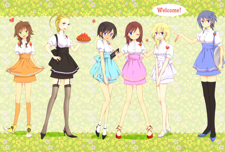Kingdom Hearts Girls - larxene, xion, aqua, olette, namine, kingdom hearts, kairi