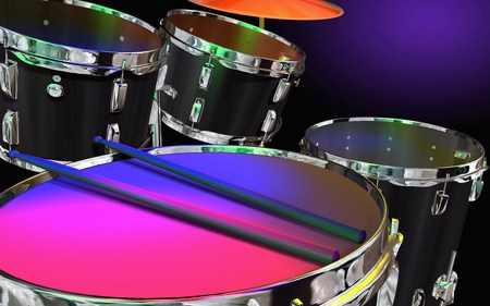 Neon Colored Drums - drums, neon, cool, colorful, music, abstract, instrument