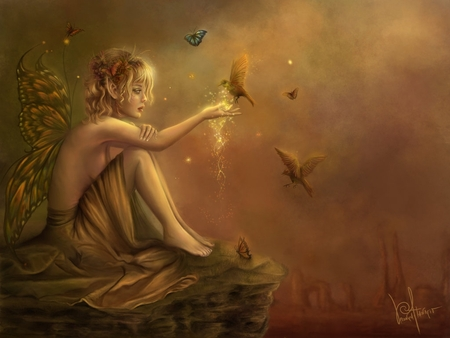 Fairy with Hummingbird - colorful, fae, orange, rock, bronze, hummingbird, mystic, fantasy, dreamlike, gold, butterfly, flowers, magic dust, light, fairy, wings, elf, birds, butterflies, fly, 3d, girl, myth