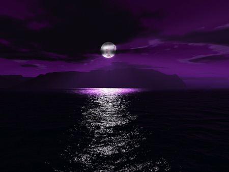 Purple Moon Light - abstract, sky, clouds, fog, sea, moon, 3d, cool, water, purple, mountains, full moon, awesome, light, night