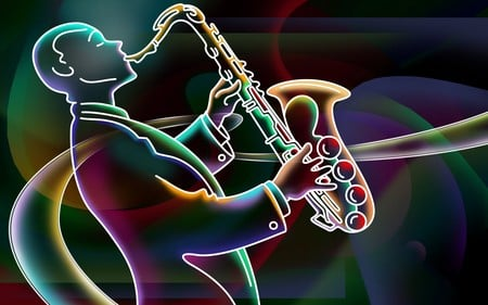 3D neon colorful - colorful, music, neon, color, saxophone, player