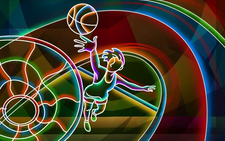 3D neon colorful - colorful, sport, basketball, neon, color