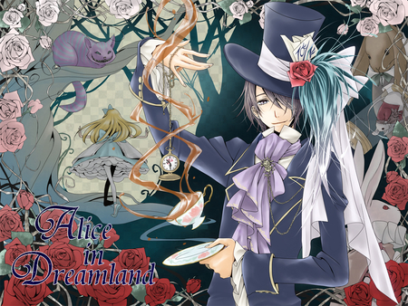 Kaito_ Alice in DreamLanD - red, alice, dreamland, roses, short, teh, alice in wonderland, hair, kaito, dish, in, flowers, white, pink, blue
