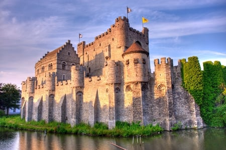 The Gravensteen - pond, architecture, belgium, gravensteen, mote, ghent, castle, classic