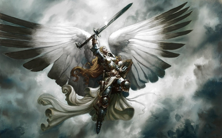 angel warrior - beautiful, wings, fantasy, clouds, sky, angel, warrior