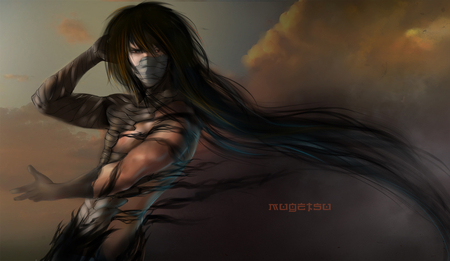 Mugetsu Ichigo - bleach, male, ichigo, shirtless, final getsuga tenshou, mugetsu ichigo, ichigo kurosaki, mugetsu, kurosaki ichigo, anime, lone, solo, long hair, red eyes, black hair, brown background