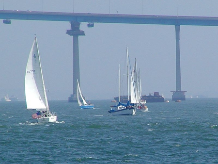 Bay Bridge - boats, water, bridge, coronado, bay, lake, sail