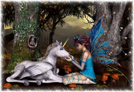 Special Friends - wings, unicorn, forest, fairy, female, mushrooms, friends
