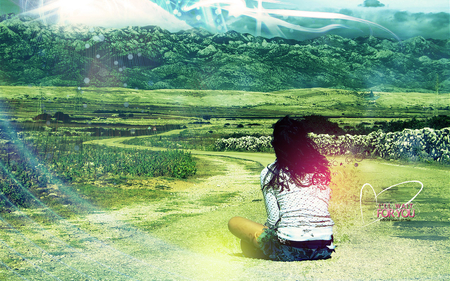 Look at the world - photoshop, sky, green, girl