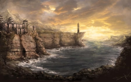 Asian Shores - cgi, fantasy, castle, artistic, painting, fortress, lighthouse