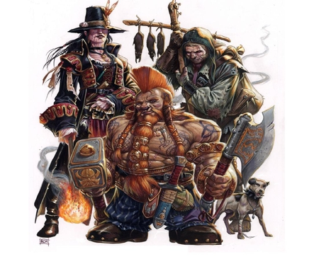 Three Rogues - witch, dwarf, rogue, dog
