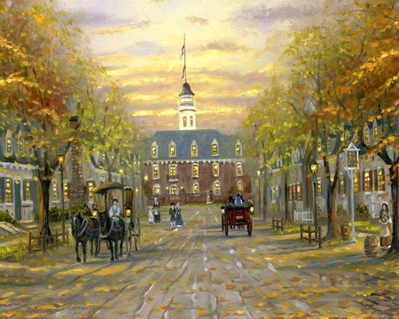 Painting of Colonial Williamsberg - textures, sky, painting, williamsburg, clouds, streets, buildings, colonial, art, people