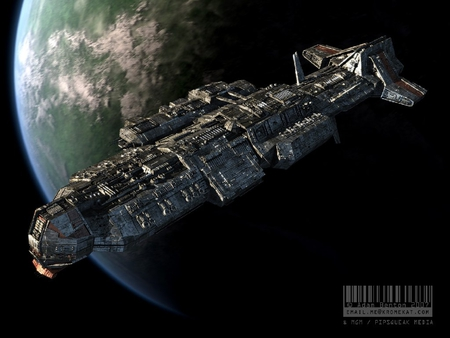 ship in orbit - scifi, planet, starship, orbiting