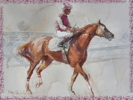 After the Race - Horse F5 - art, horse racing, racing, equine, horse, sandra oppegard, artwork, track, oppegard, painting, turf