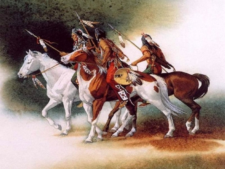 Indians - americans, people, native, indians, chief, horses