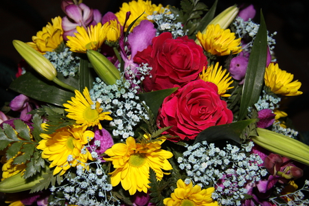 Bouquet of Flowers to all my friends on DN - flowers, white, photography, roses, red, yellow, bouquet, Daisy, green